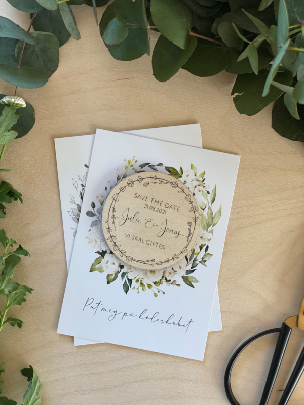 save the date rund med blomster bryllup