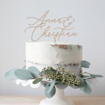 Caketopper 2 navne bryllup design 3