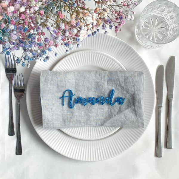 bordkort med glimmer blå