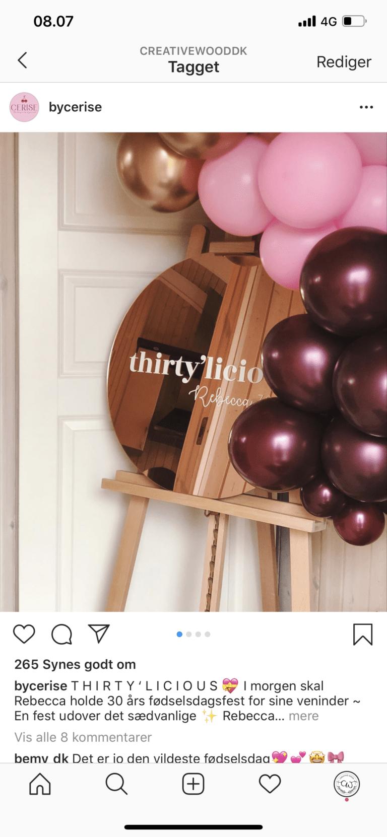 spejl rosaguld velkomstskilt bryllup og fødselsdag rosegold spejl