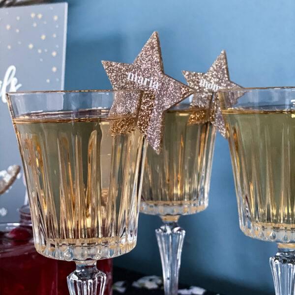 bordkort til glas nytår guld stjerner