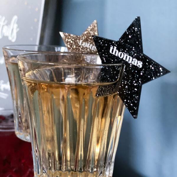 bordkort til glas nytår sort glimmerstjerne