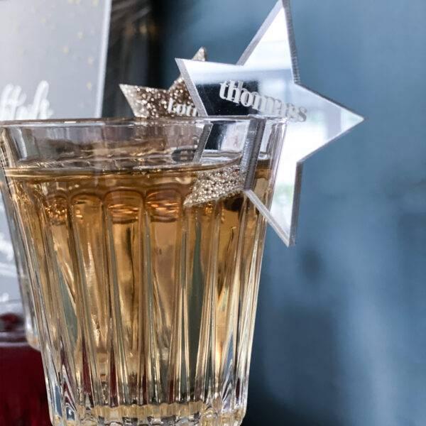 bordkort til glas nytår sølv stjerne