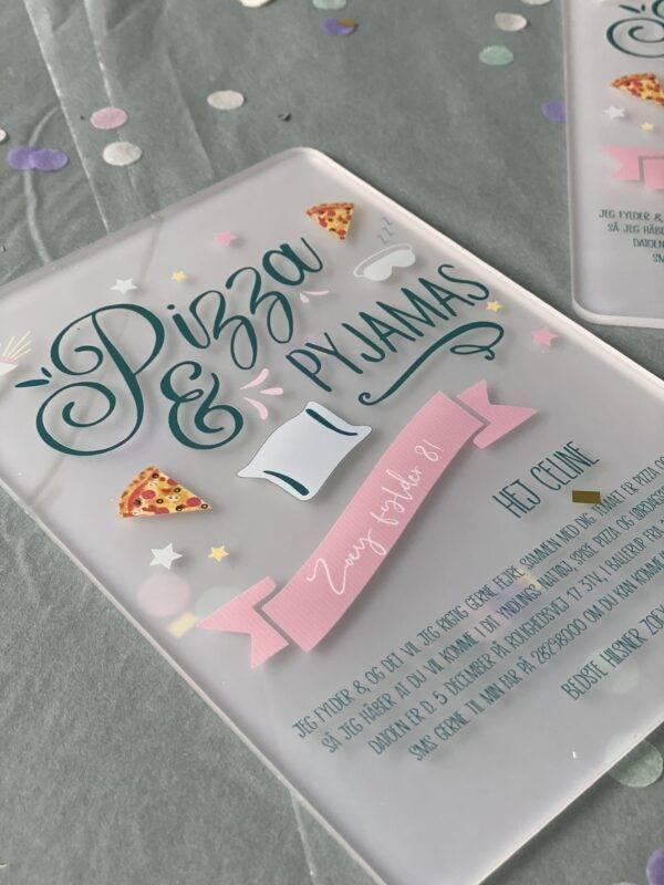 invitation børnefødselsdag tema akryl