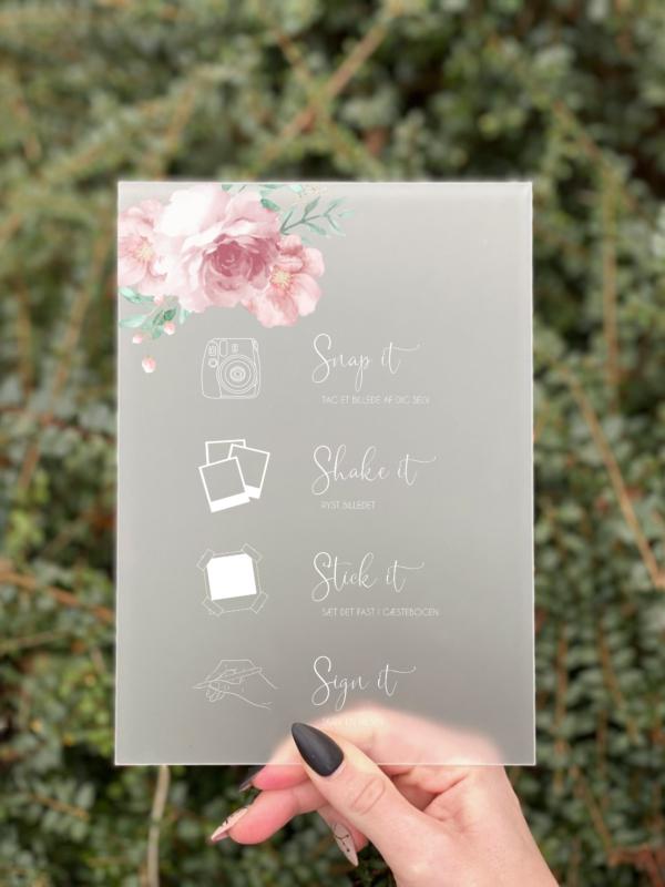 Blossom polaroid Gæstebogskilt konfirmation pige