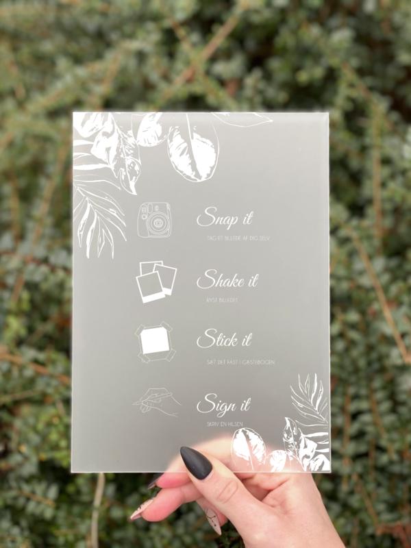 Jungle polaroid gæstebog skilt konfirmation