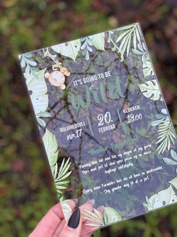 invitation akryl jungle dreng fødselsdag