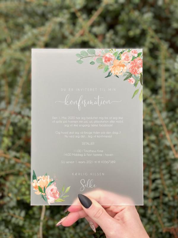 invitation blossom konfirmation pige Peach Passion