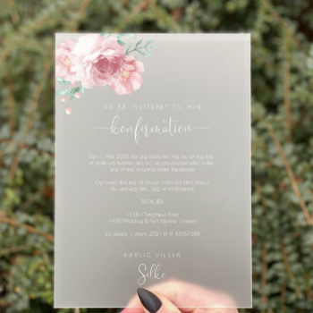 invitation blossom konfirmation pige dusty rose
