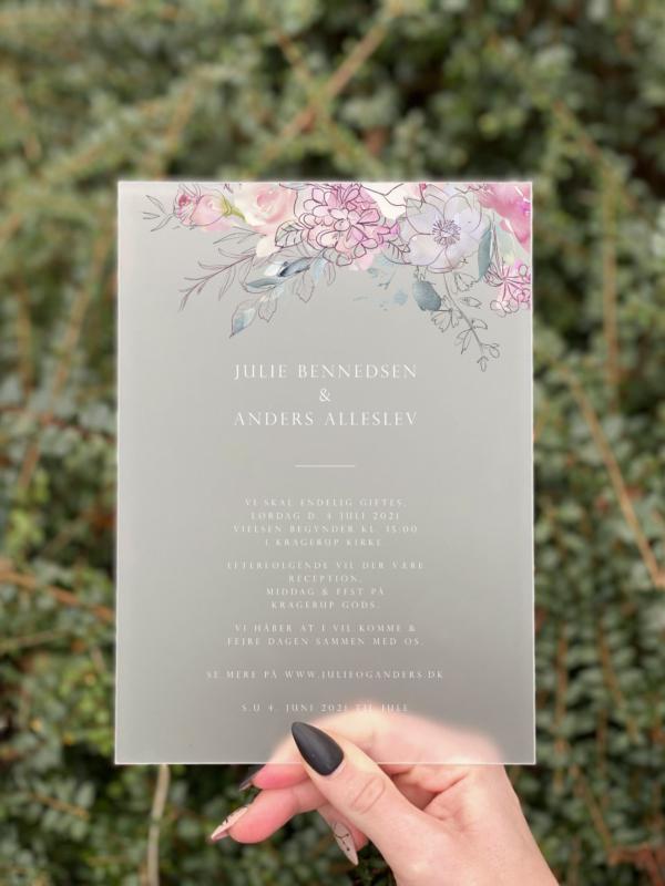 invitation bryllup akryl floral