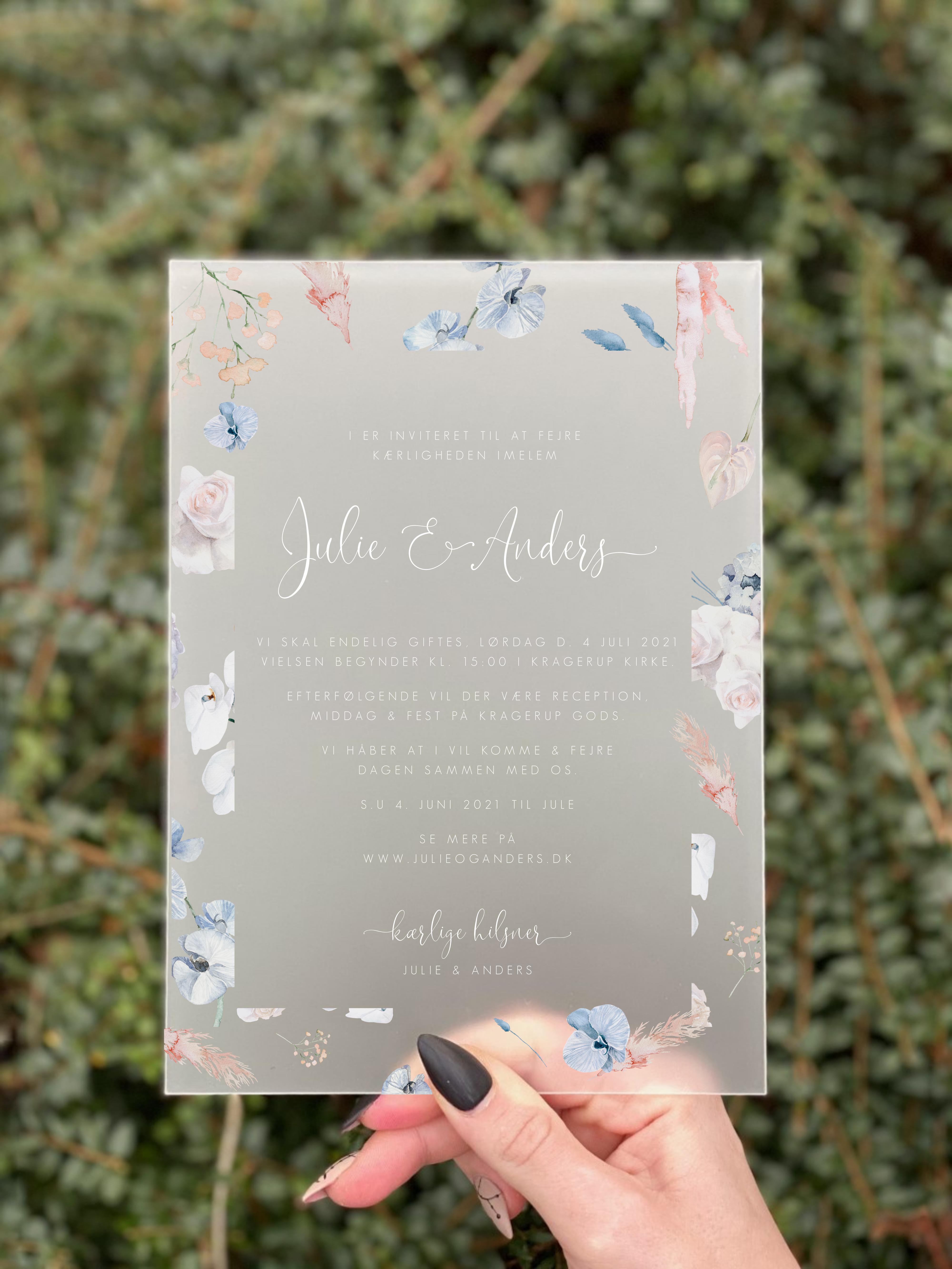 invitation bryllup akryl pastel boho