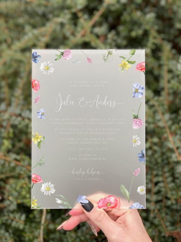 invitation bryllup akryl wild flower