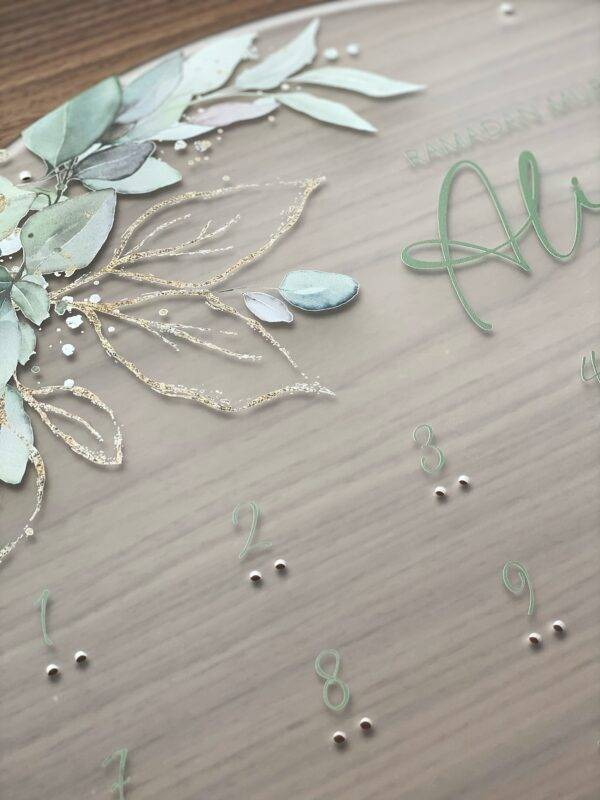 ramadan kalender frosted akryl med grøn og guld