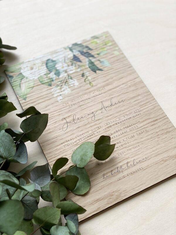invitation rose i træ til bryllup