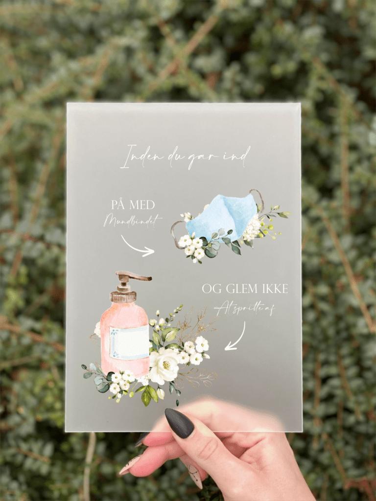 husk maske & mundbind covid 19 skilte med blomster