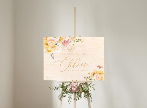 boho blomster velkomstskilt birkefinérl til barnedåb og fødselsdag