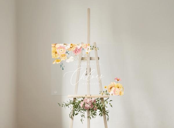 boho blomster velkomstskilt klar akryl til barnedåb og fødselsdag