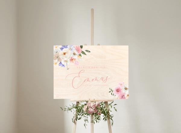 pastel blomster velkomstskilt birkefinér til barnedåb og fødselsdag