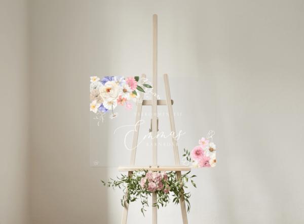 pastel blomster velkomstskilt klar akryl til barnedåb og fødselsdag