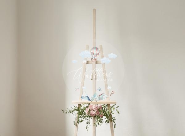 velkomstskilt til barnedåb og fødselsdag luftballon tema akryl skilt