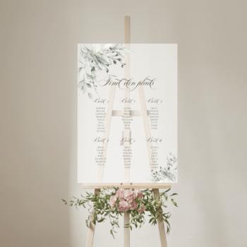 Botanical bordplan bryllup frosted akryl højkant