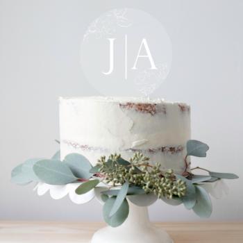 Magnolia caketopper til bryllup