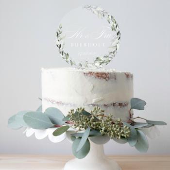 botanical caketopper bryllup