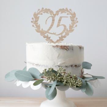 sølvbryllup caketopper til kagen