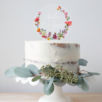 wild flower caketopper bryllup