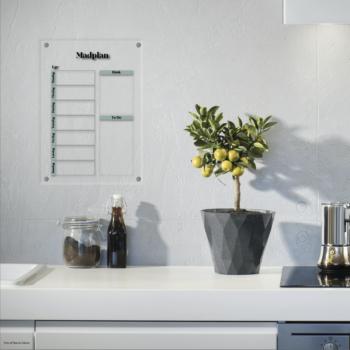 madplan til boligen stor i akryl, design London sort på grøn